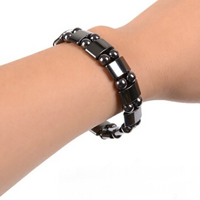 JWMUMA Weight Loss Round Black Stone Magnetic Bracelet Therapy women's Bracelets Men Stretch Bracelet Gifts for Men 1