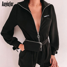 Auyiufar Streetwear Fashion Solid Playsuit Zipper Long Sleeve Sashes Women Rompers 2019 Casual Letter Skinny Overalls