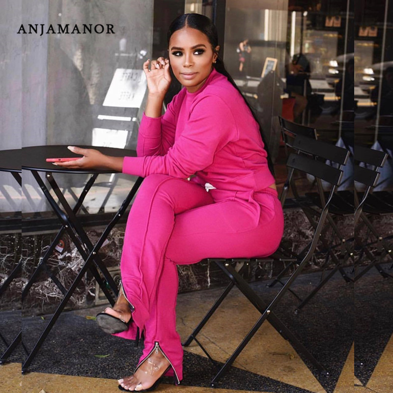 ANJAMANOR Two Piece Set Top And Pants With Foot Zipper Plus Size Tracksuit Women 2 Piece Jogging Sets Leisure Suit D49-AE53
