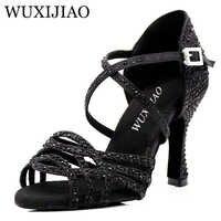WUXIJIAO Latin black Rhinestone Dance Shoes Women Salas Ballroom Shoes Cuba Heel 8.5cm Waltz Software Hot Sale dance Shoes