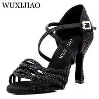 WUXIJIAO latina de diamantes de imitación negro zapatos de baile zapatos de las mujeres Salas de baile zapatos Cuba tacón 8,5 cm vals Software gran oferta zapatos de baile