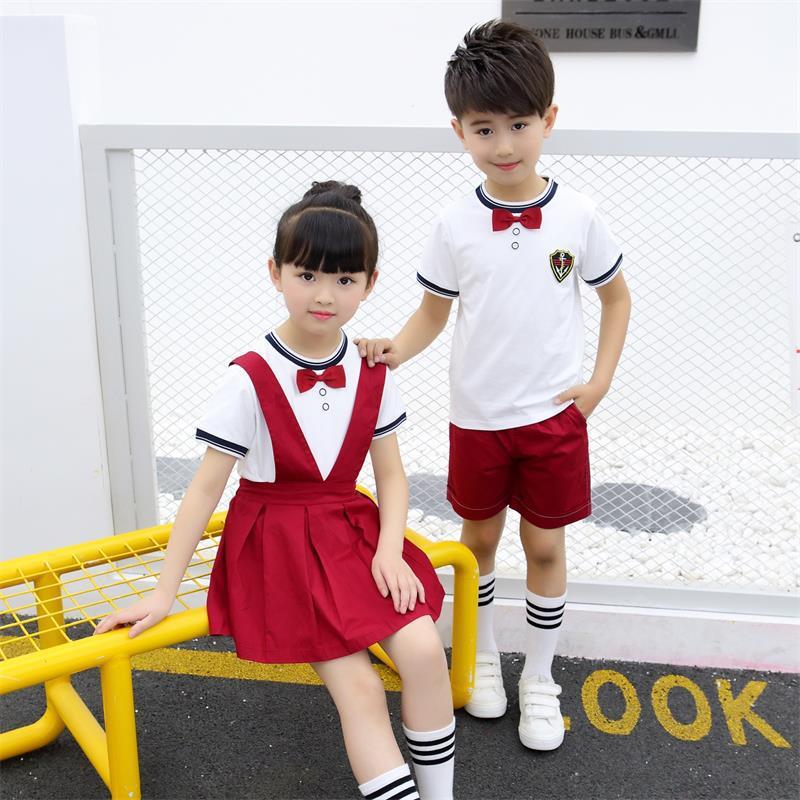 Kindergarten Suit Young STUDENT'S School Uniform Summer Wear Short Sleeve Children Summer Business Attire B Class Men And Women