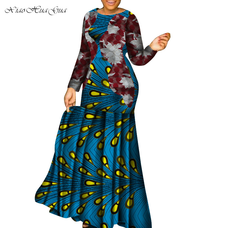 New African Dresses For Women Dashiki Vetement Femme 2019 Robe Africaine Bazin Riche Ankara Plus Size Party Long Dress Wy5265