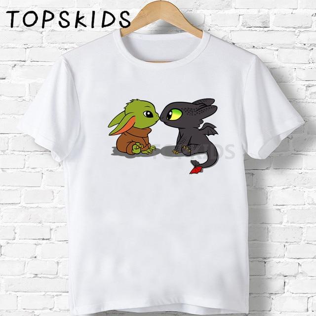 2020 Summer Boys T shirt STAR WARS Baby Yoda Mandalorian Cartoon Kids T-shirts Funny Toothless Baby Girls Clothes Tops,HKP5349