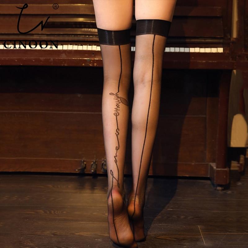 CINOON yaz kadın seksi uyluk yüksek Stocking diz geri dikiş elastik çorap aşk mektupları ince yüksek çizgili uzun çorap