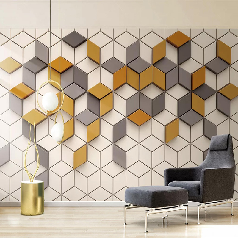 Photo Wallpaper Modern Simple 3D Stereo Yellow Mosaic Geometric Pattern Mural Living Room Dining Room Abstract Art Wall Painting
