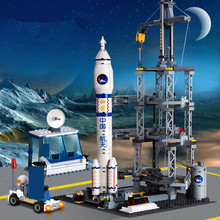 822Pcs Space Technology Rocket Station Building Blocks Sets Model Kids DIY Bricks Educational Toys Children