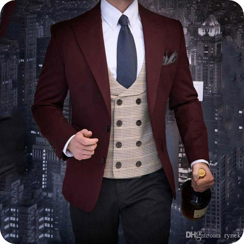 Suits Jacket Black Lapel Two-Pieces Pant Costume Tuxedos Blazers Shawl Groom Homme Burgundy