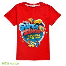 Красная рубашка для мальчиков и девочек костюм с героями мультфильмов