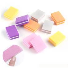 10Pcs/lot Double-sided Mini Nail File Blocks Colorful Sponge Sanding Buffer Strips Manicure Pedicure Sanding Nail Art ToolGL1824