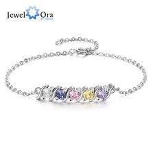 Joyería personalizada pulsera de cadena personalizada con 5 piedras de nacimiento pulseras y brazaletes de Zirconia DIY para mujer (JewelOra BA102640)