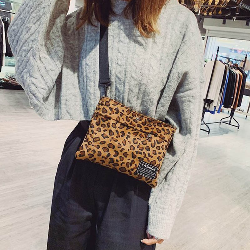Women Personality Cool Leopard Printed Shoulder Bag Concise All-match Crossbody