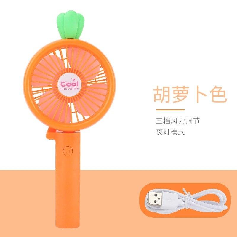 New Style Fresh Radish Small Fan USB Mini Shining LED Carrying Portable Portable Chargable Small Electric Fan