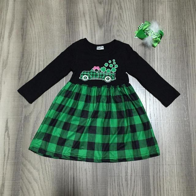 baby girl clothes girls St Patrick''s day' dress with truck Clover print girls green plaid dress with bow wholesale
