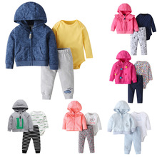 Moda primavera meninos definir outono bebê meninas manga longa 3 pçs roupas com capuz conjunto de esportes roupas do bebê meninas roupas do bebê pijamas