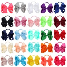 25 Pcs/Lot Solid Hair Bow With Elastic Band Candy Color Grosgrain Ribbon Bows For Girls Handmade Classical Accessories
