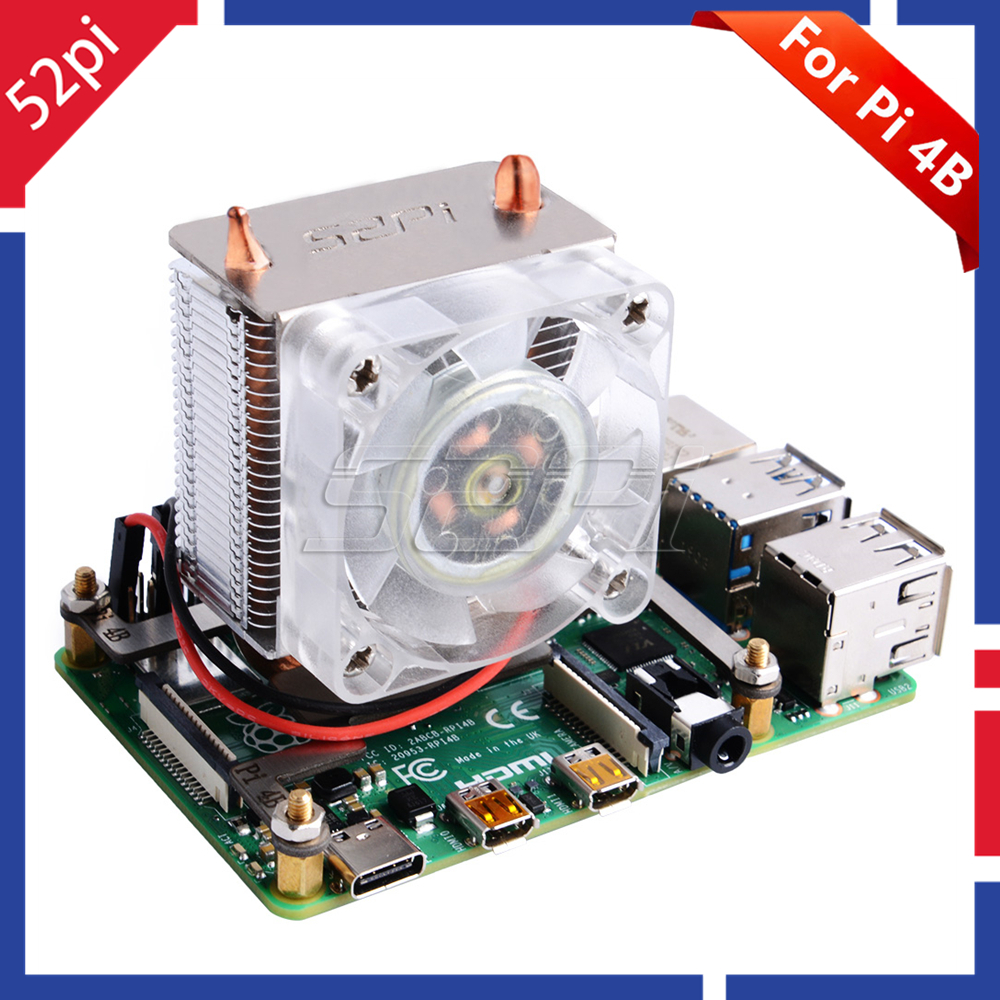 In Stock! 52Pi ICE-Tower CPU Cooling Fan Super Heat Dissipation Blue Light For Raspberry
