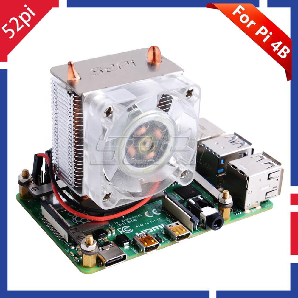 Em Estoque! 52Pi ICE-Torre Ventilador de Refrigeração da CPU dissipação de calor Super Luz Azul para 3B 4B Raspberry Pi para Raspberry Pi /3B +/4B