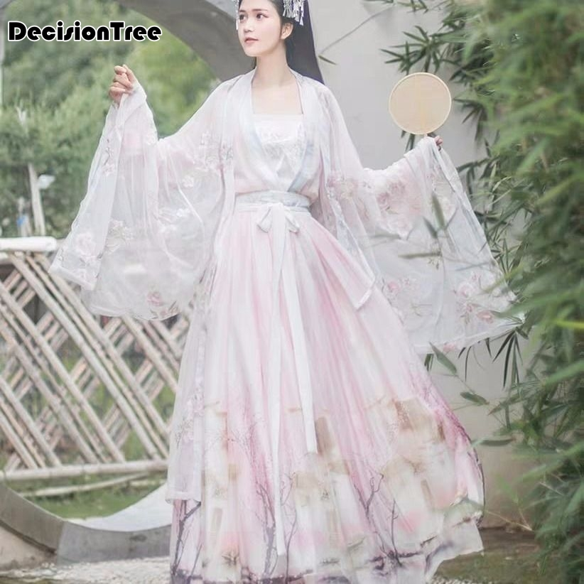 2020 Women Hanfu Sets Traditional Chinese Dress Cloak Water Sleeve Chiffon Lace Vintage Flower Embroidery Sunscreen Cardigan