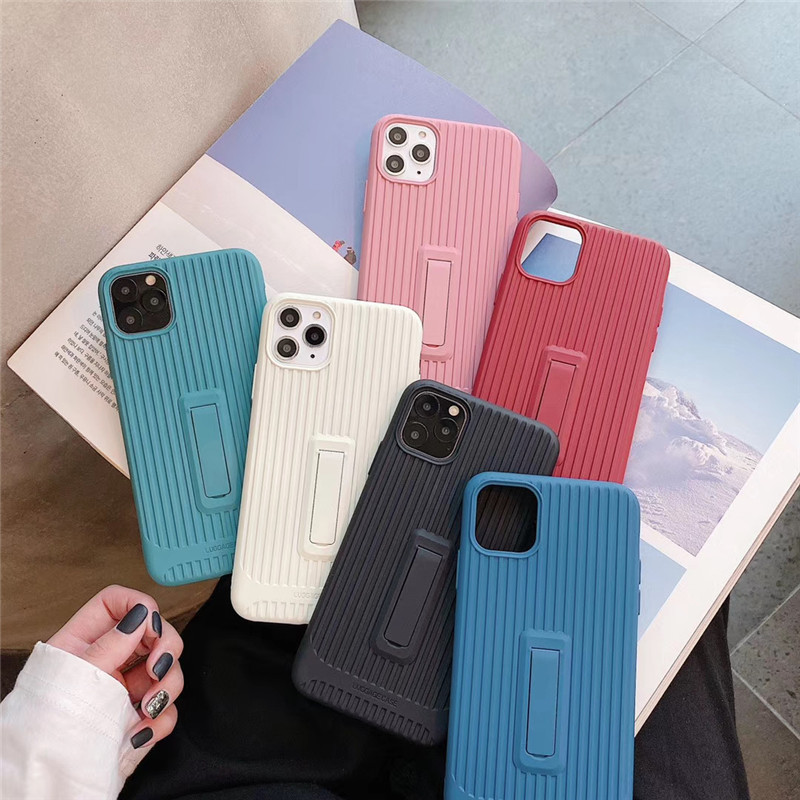 Luxury Solid Color Trunk Stripes Stand Cover Couple Case For <font><b>Huawei</b></font> Y9 Prime 2019 Honor 20 20S 10 9X <font><b>P20</b></font> P30 <font><b>Mate</b></font> 20 30 Pro <font><b>Capa</b></font> image