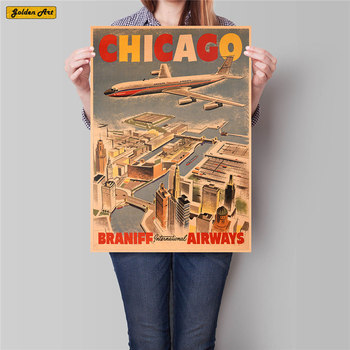 Chicago City Travel Poster Hand Painted Tourist Attractions Vintage Kraft Paper Pub Cafe Bedroom Home Decor Wall Sticker 42x30cm image