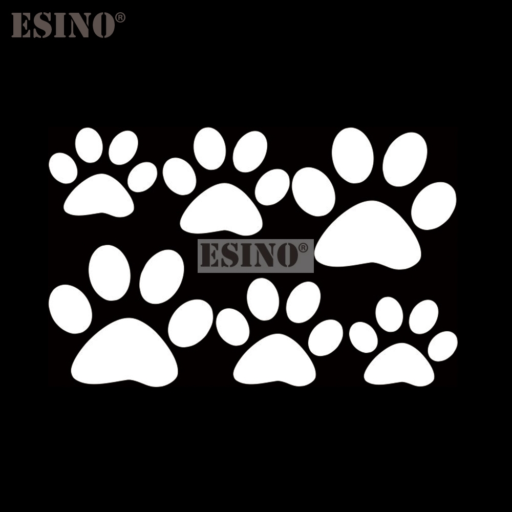 6 x Funny Creative Lovely PVC Car Stickers Dog Cat Paws Pet Animal Footprints Decoration Car Whole Body Stickers Decal Vinyl