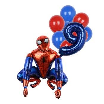 1set 3D Big Spider Supper Hero Man Mylar Foil Balloon Number Foil Balloons Birthday Party Decoration Supplies Children's Gifts 20