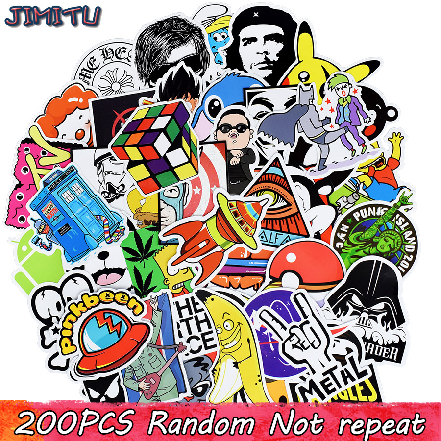 200PCS Random Graffiti Stickers Funny Cartoon Anime PVC Decal Sticker For Children DIY Laptop Luggage Skateboard Bike Motorcycle