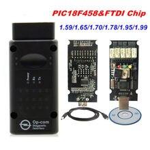 Newt COMOP Firmware 1.99 1.95 1.78 1.70 1.65 OBD2 CAN-BUS Code Reader Para Opel OP com Diagnóstico OP-COM PIC18F458 FTDI Chip