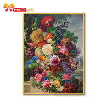 Cross-Stitch-Kits Flowers Embroidery Canvas-Patterns Water-Soluble Needlework-Sets 11CT