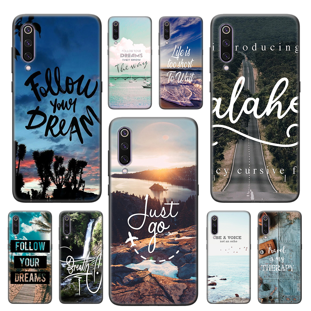 Travel Mountain Sea Beach Quotes Black Soft Case For Xiaomi Mi 10 CC9 CC9E 9 9T 10 Pro 8 9 10 Lite 5G Note 10 Pro TPU Cover