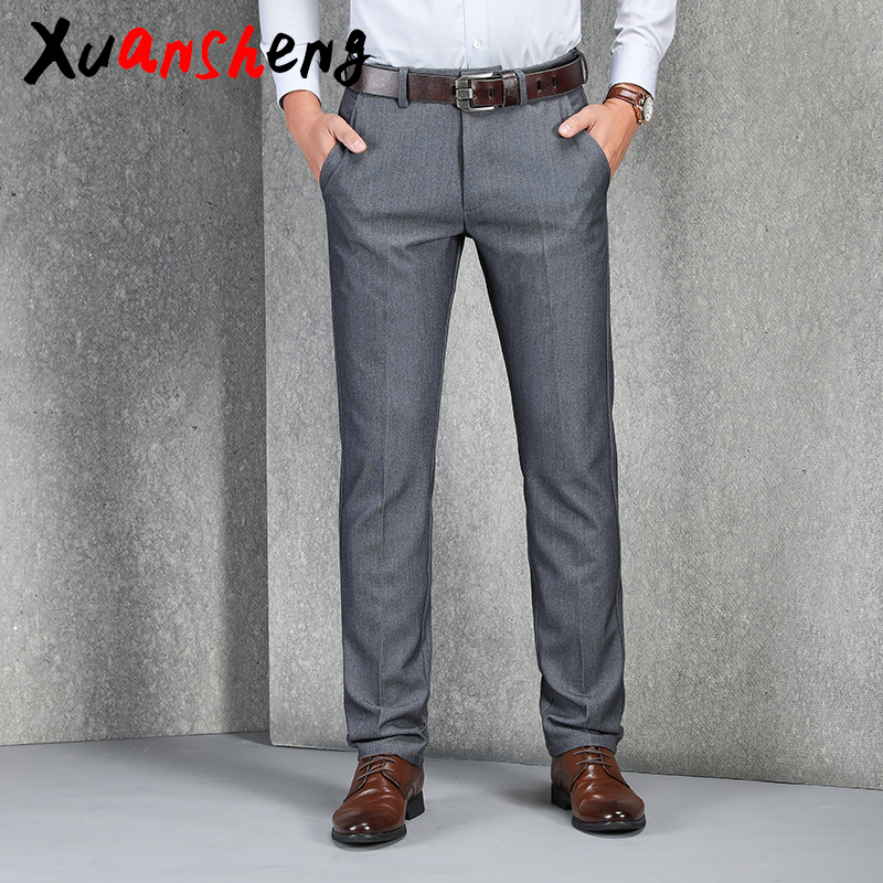 Middle-aged Business Men's Suit Trousers Casual Pants 2019 Brand Loose Straight Stretch Gray Black Classic Fashion Casual Pants