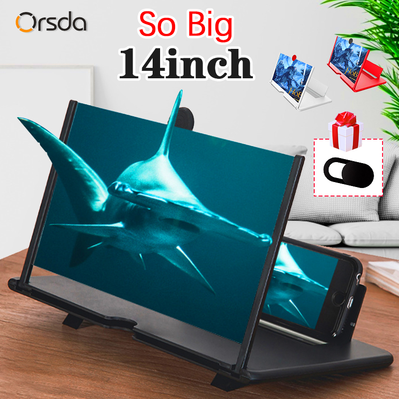 14 Inch 3D Mobile Phone Screen Magnifier HD Video Amplifier Stand Bracket with Movie Game Magnifying Folding Phone Desk Holder