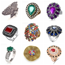 13 Styles Hot Sale Bohemia Vintage Rings Rhinestone Crystal Ancient Gold Big Rings For Women Boho Jewelry Size 7/8/9/10