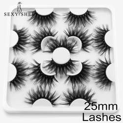 SEXYSHEEP 20-25mm 5/7/8 Pairs False Lashes Faux Mink Eyelashes Dramatic Thick Volume Long Fluffy Eyelash Eye Makeup Tools Beauty