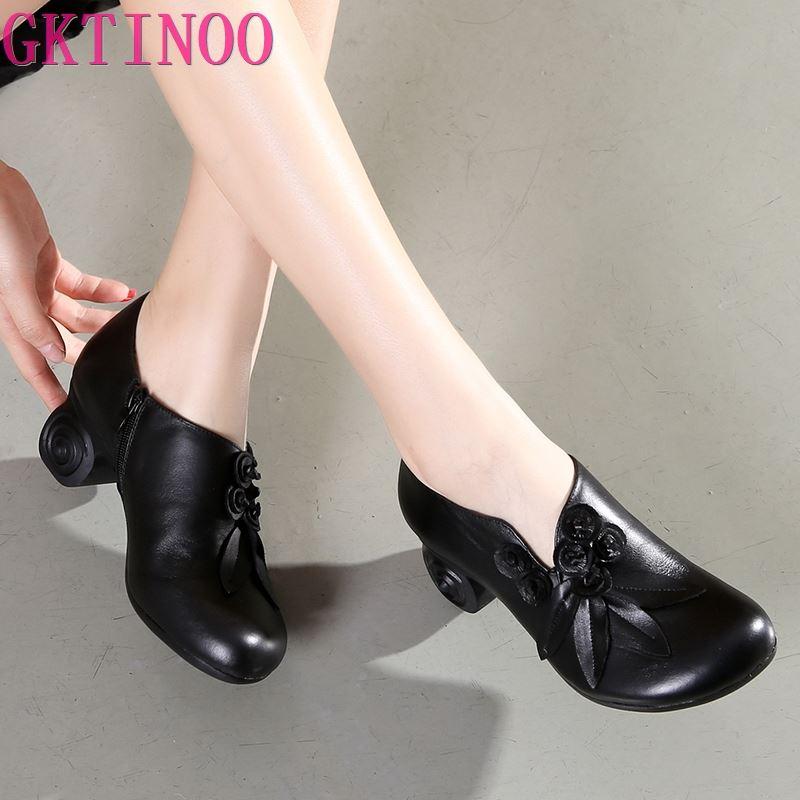 GKTINOO Flower Genuine Leather women pumps high heels shoes for women Female Soft Autumn Handmade office Shoes