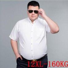 Рубашка мужская с коротким рукавом, короткий рукав, большие размеры 10XL 11XL 12XL, деловая офисная Удобная белая с лацканами, 8XL 9XL, на лето