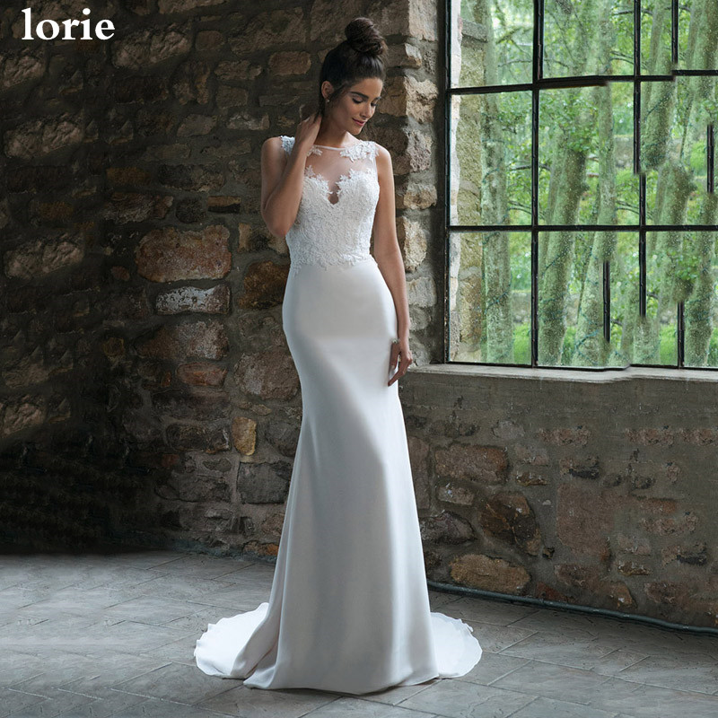 LORIE Mermaid Wedding Dress 2020 Appliqued Lace Bride Dress See Through Back Soft Satin Wedding Gowns Vestido De Voiva