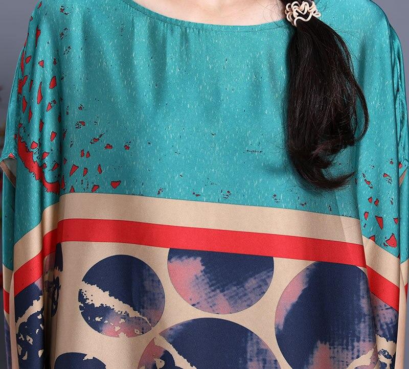 Oversized Dress Summer Women Large Size 2020 New Silk Polka Dot Printed Round Neck Short Sleeves Loose Casual Dress Midi Women Women's Clothings Women's Dresses cb5feb1b7314637725a2e7: Blue