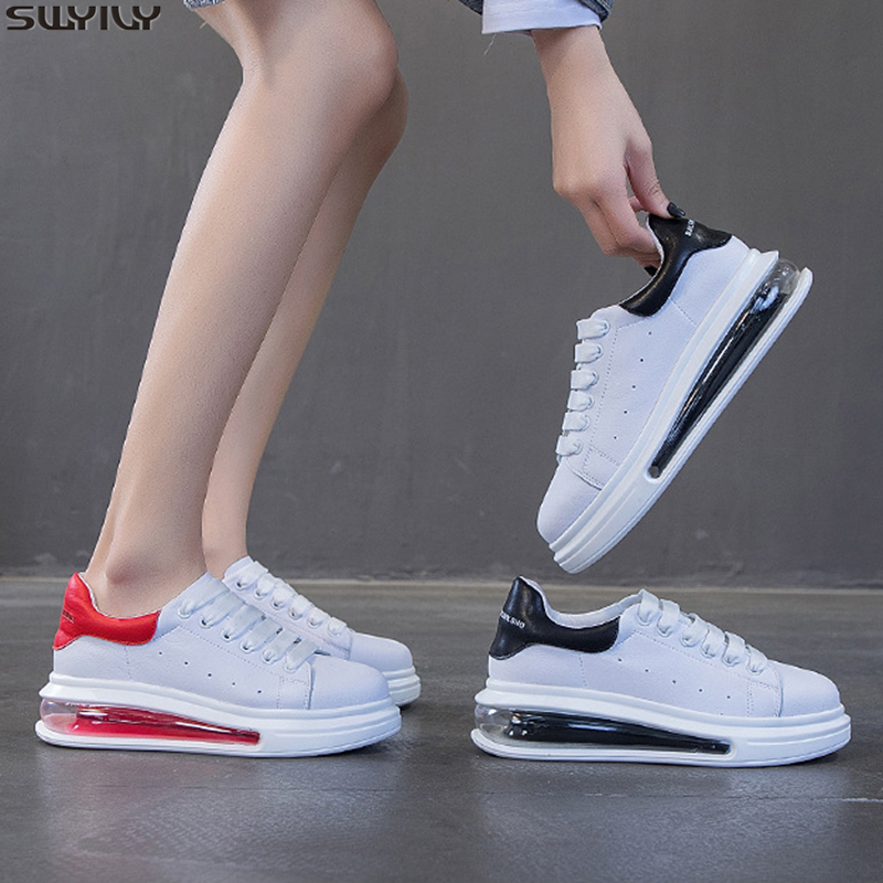 SWYIVY Slip Leather Sneakers Women Med Heel Casual Shoes Woman 2020 New Spring Wedges Shoes For Women Sneakers Solid Ladies Shoe