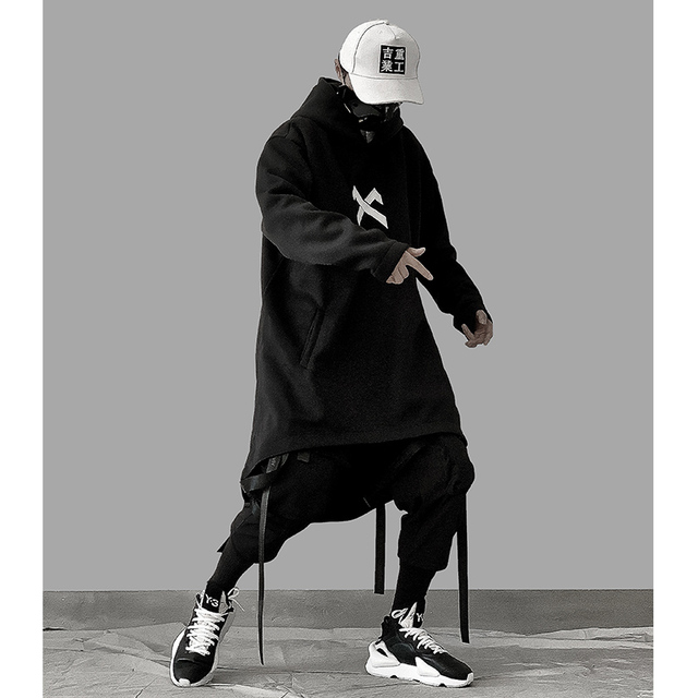 japanese sweatshirt Mens Oversize Hoodies Long Cloak Hip Hop Gothic Outwear Streetwear Coat Harajuku Style Male Tops michalkova 6