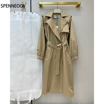 SPENNYMOOR 2021Designer Brand Spring Summer Long Trench Coat  Women Fashion Long Sleeve Double Breasted Overcoat Outwear 1