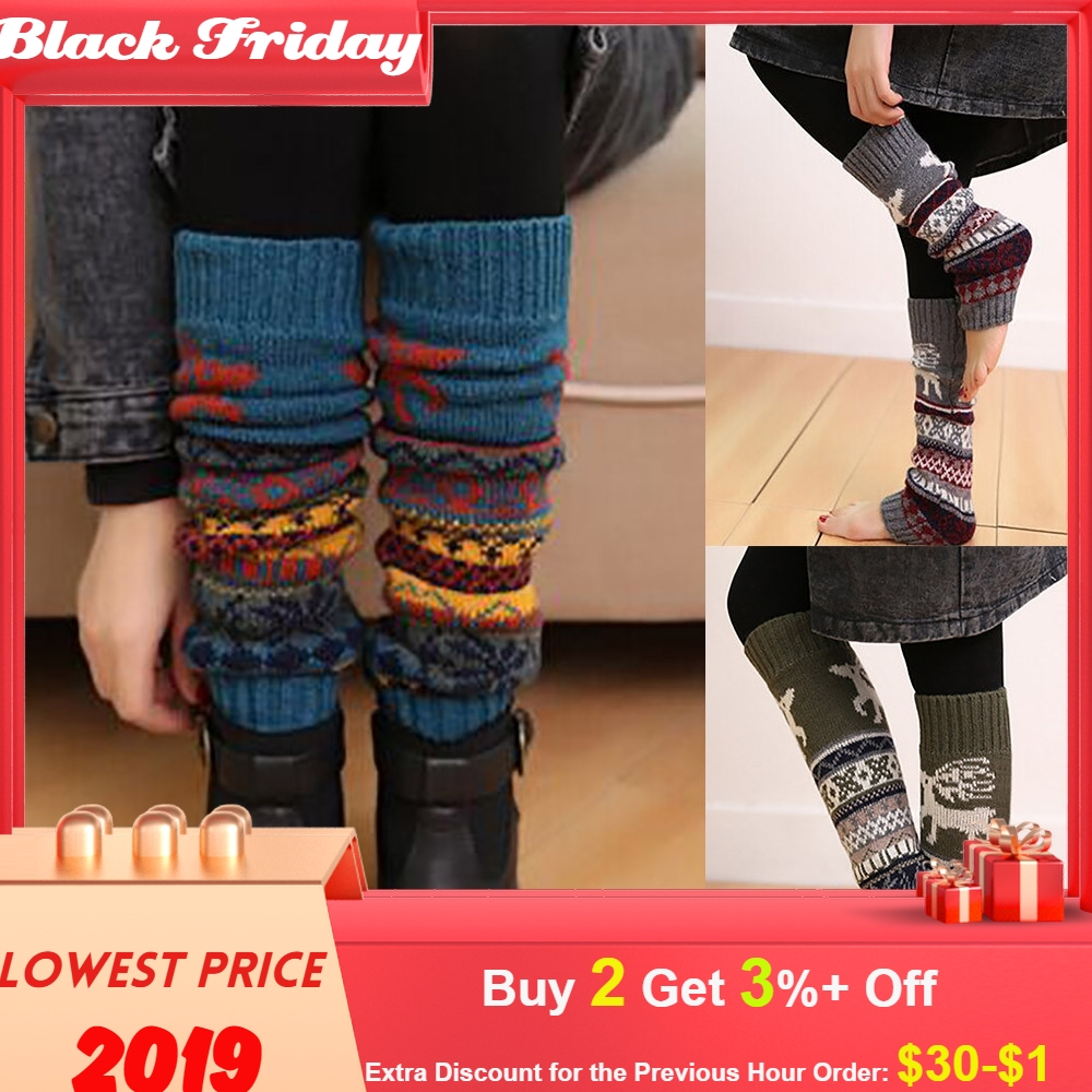 Winter Warm Christmas Knee Sleeve Leg Cable Knit Knitted Crochet High Long Socks Leggings Muslera Deportiva