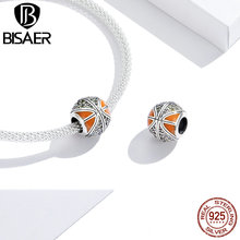 цена на Lucky 24 Beads BISAER 925 Sterling Silver Sport Mentality Never Give Up Basketball Love Charms Silver 925 Jewelry HSC1506