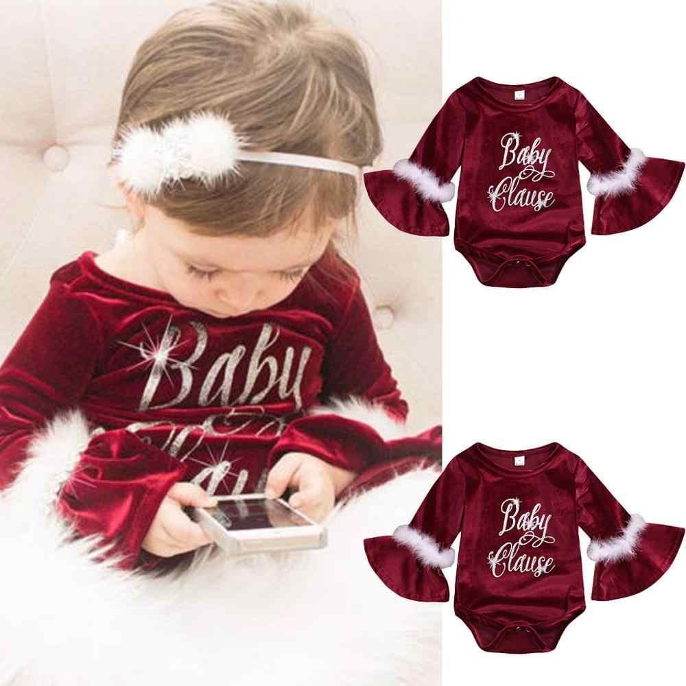 クリスマス赤ちゃんベルベットロンパース厚い新生児幼児服少女ジャンプスーツロンパースぬいぐるみ服クリスマスギフト 2019