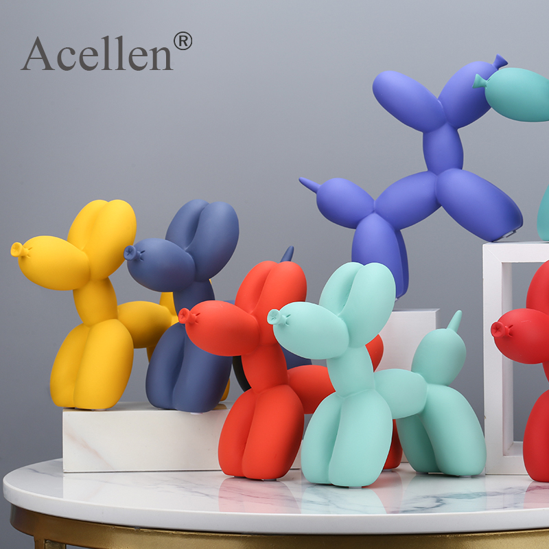 Matte Balloon Dog Statue Resin Sculpture Home Decor Modern Nordic Home Decoration Accessories for Living Room Animal Figures