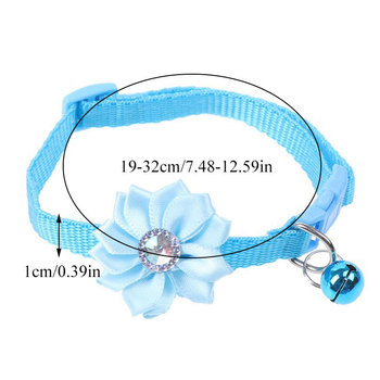 Flower Diamond Shape Pet Collar for Cat Dog Bell Neck Strap for Small Dogs Cat Cute Neck Rings with Buckle Puppy Kitten Collars image