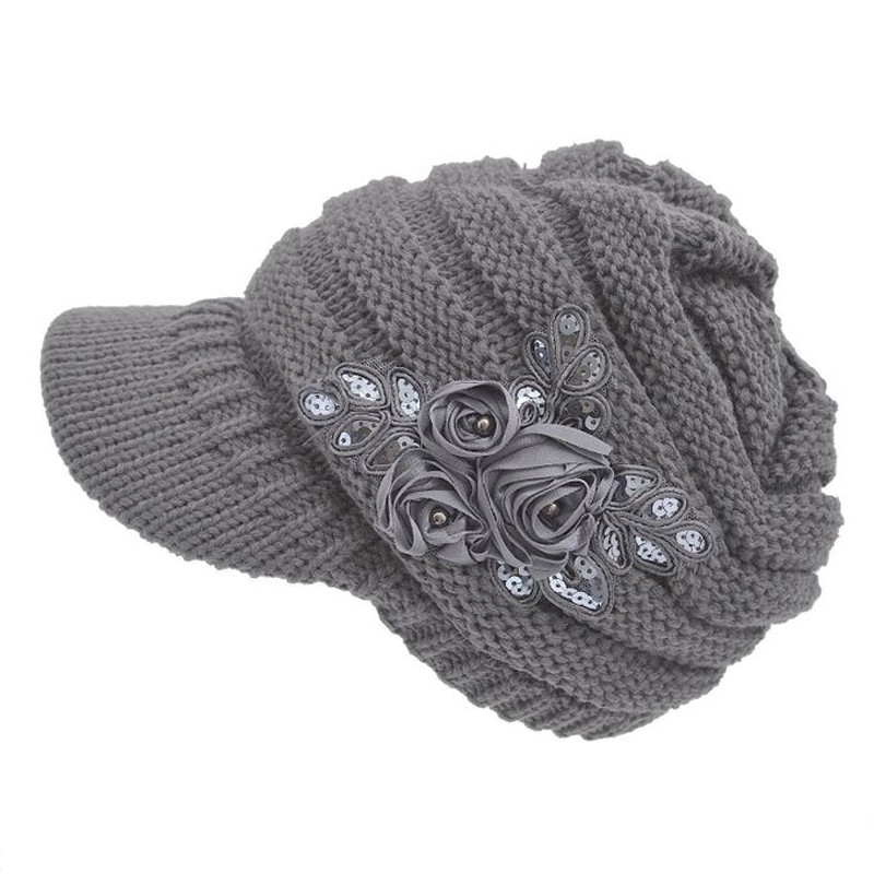 2019 Women Girls Cap Beanies Cable Knit Winter Warm Hat With Flower Accent Knitted Hats Outhead Fashion Hip Hop Cap Dropship