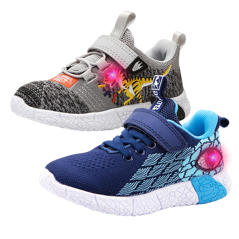 2020 LED Casual Children Shoes 3D Dinosaur Mesh Boy Sneakers Light Up Kids Sneaker For Girls Anti-slippery Summer Baby Trainer