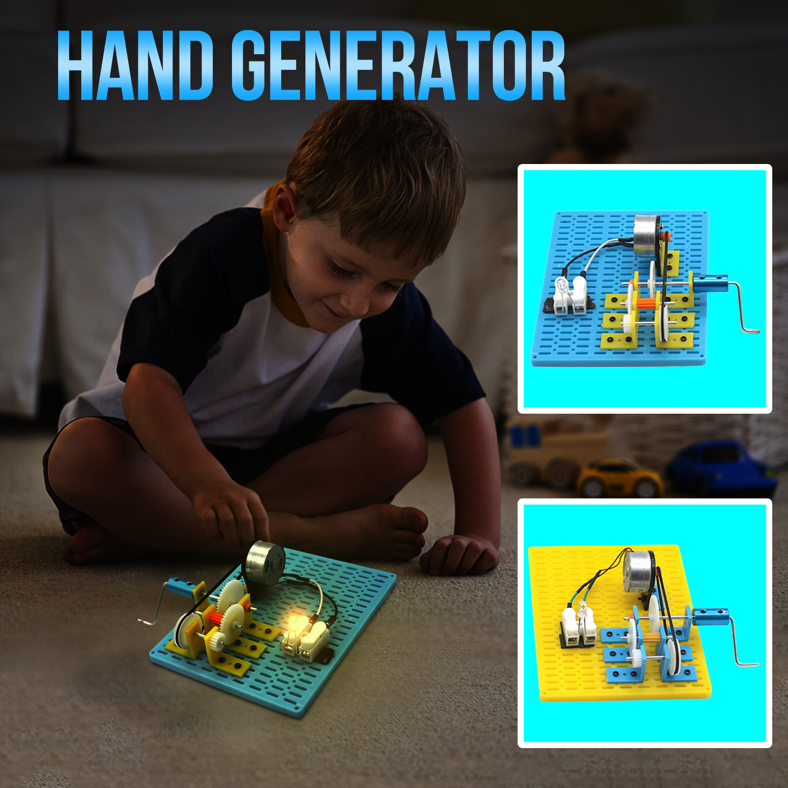 Mini manivela generador modelo Kit tecnológico experimento de ciencia juguete infantil educativo Led iluminación